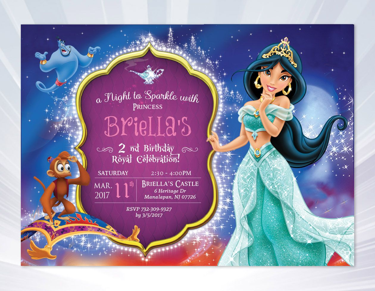 Princess Jasmine Invitation Birthday Party Invites By ABCSongShop On Etsy