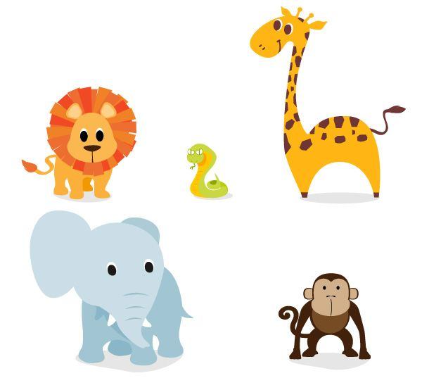 free cute vector animal graphics and character designs tutin rh pinterest com jungle themed clip art free jungle themed clip art free