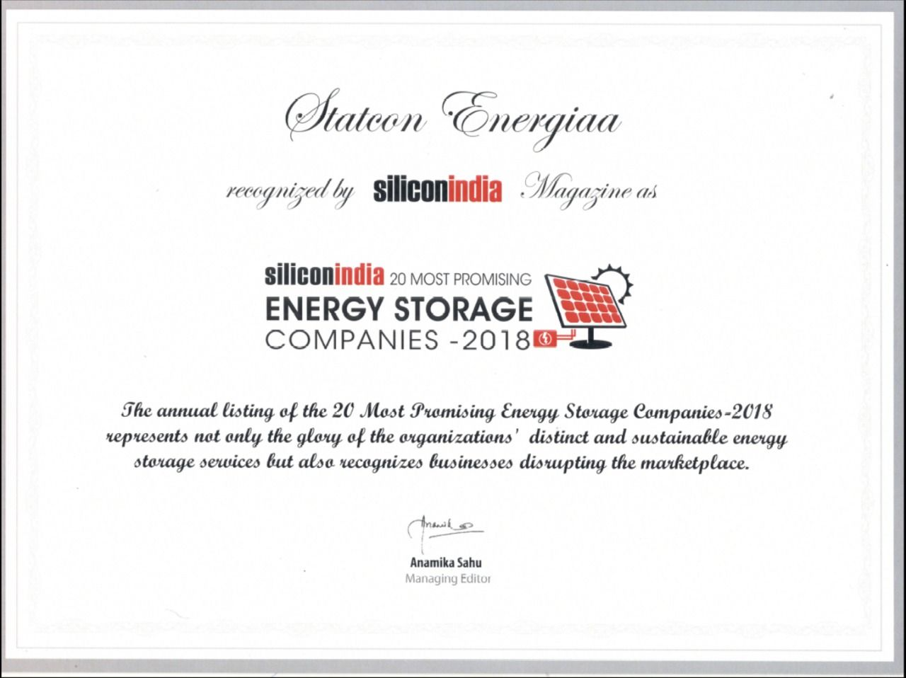Silicon India Magazines has featured STATCON ENERGIAA in