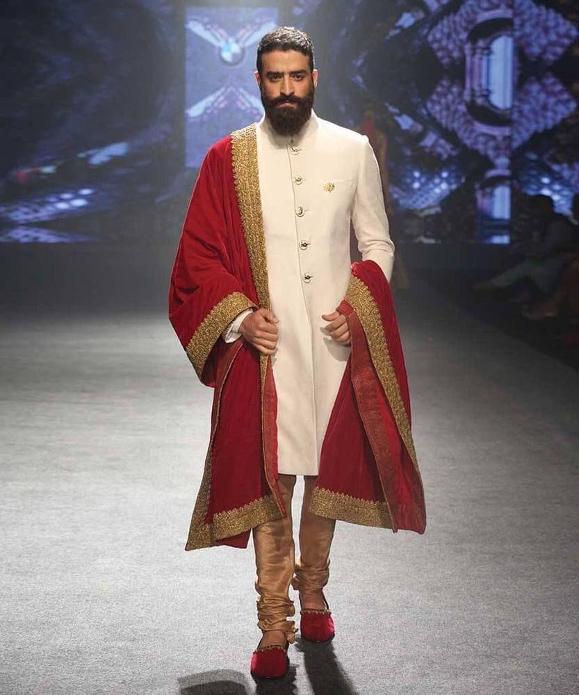 New designer mens off white wedding groom indo western sherwani