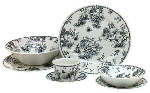 Churchill China Black Toile Dinnerware Set  sc 1 st  Pinterest & Churchill China Black Toile Dinnerware Set | The Dish Cabinet ...
