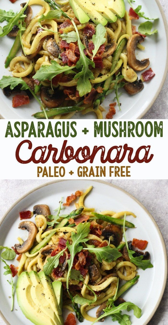 Asparagus & Mushroom Carbonara with Zucchini Noodles