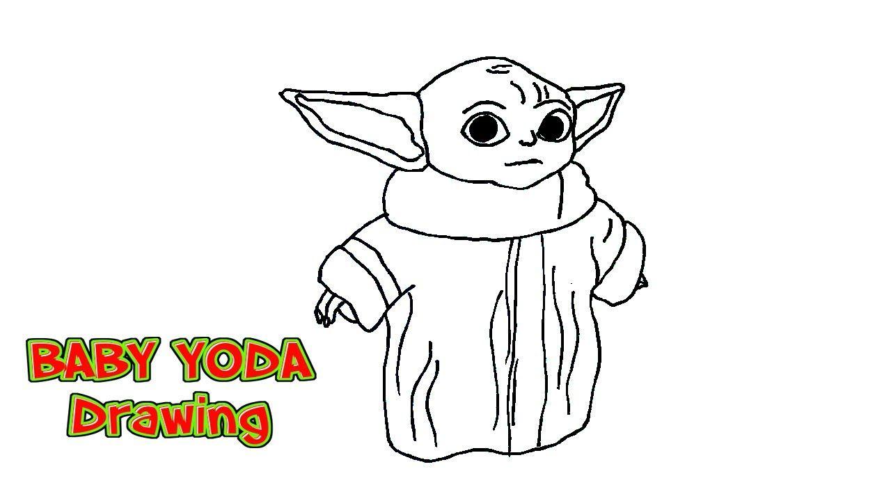 How To Draw Baby Yoda The Mandalorian Youtube Yoda Drawing Baby Drawing Yoda Canvas