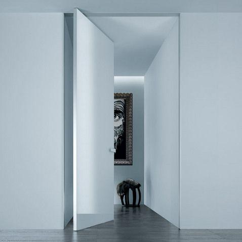 Doors Aura Design Giuseppe Bavuso Aluminum Frame Bianco Latte - Porte pivot