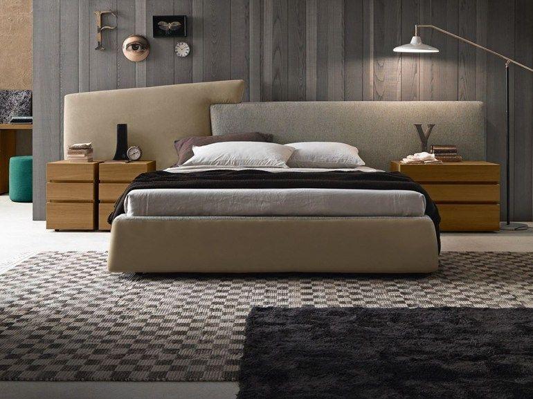 Cama de tecido com armazenamento com cabe a estofada wing for Presotto industrie mobili