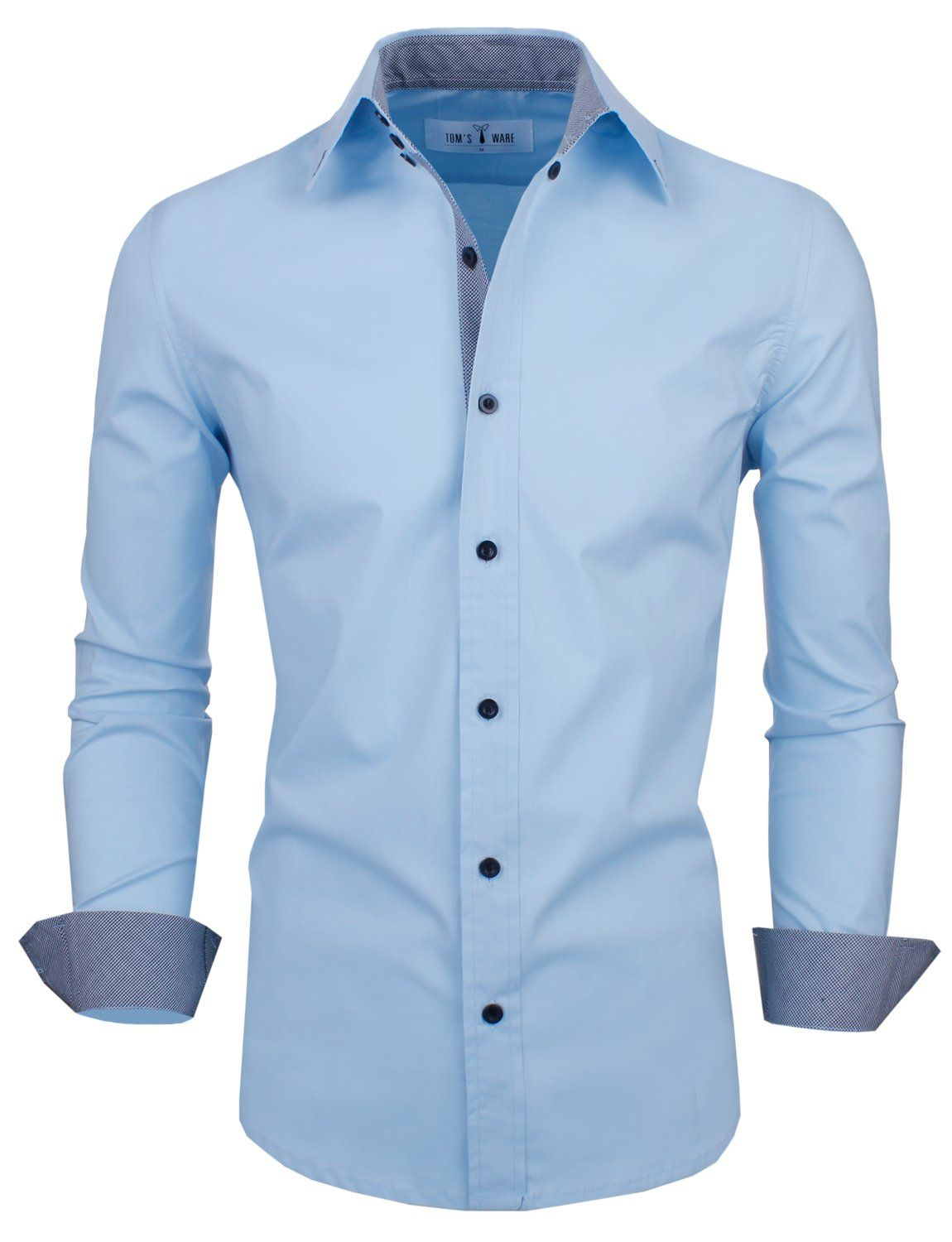 Tomus ware menus slim fit long sleeve with checkered buttons shirts