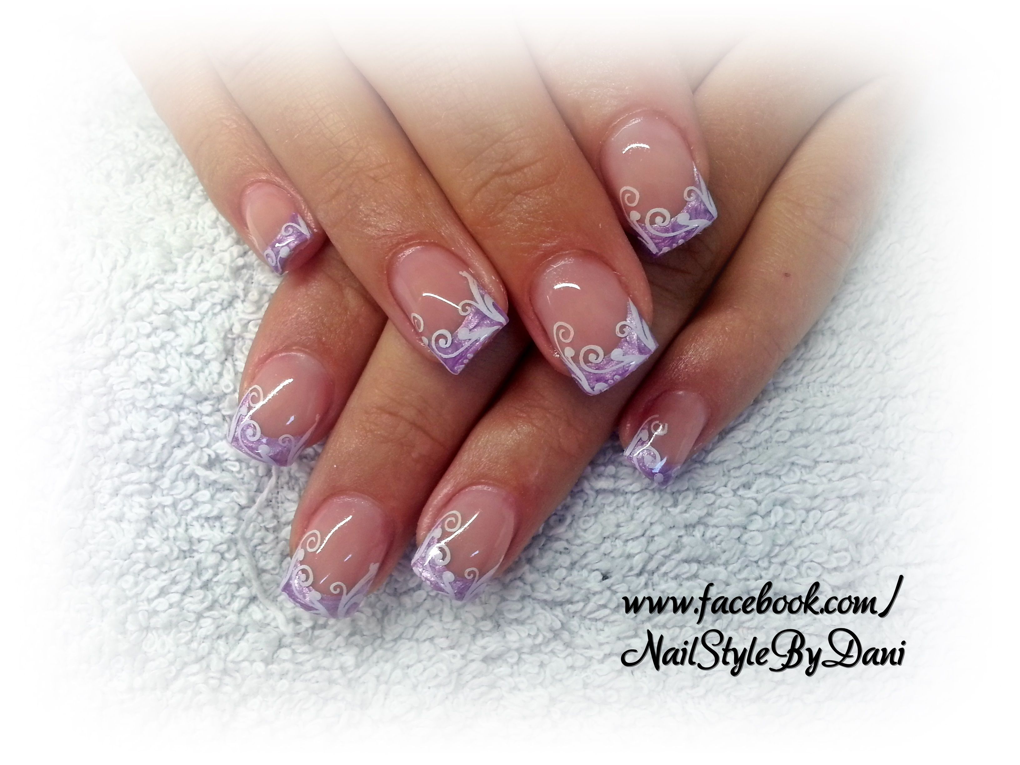 Lilac with stamping - www.facebook.com/NailStyleByDani