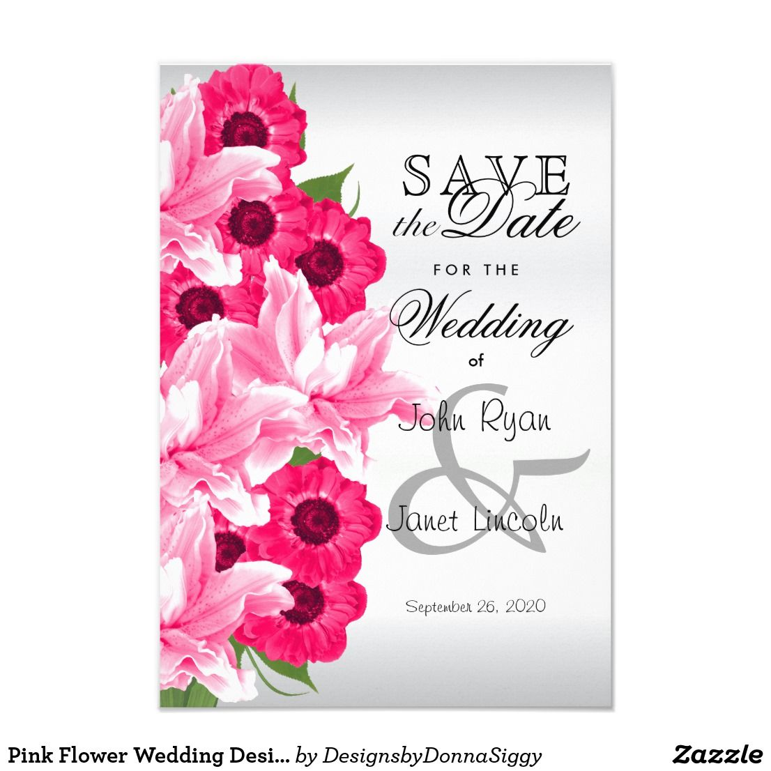 pink flower wedding design save the date support small