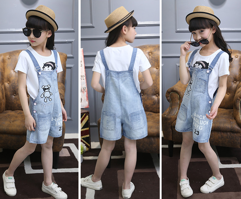 3b949289e J087#latest Design Girls Top Kids Jumpsuit Denim Shorts Printed Design  Enzyme Washed Jeans Baby