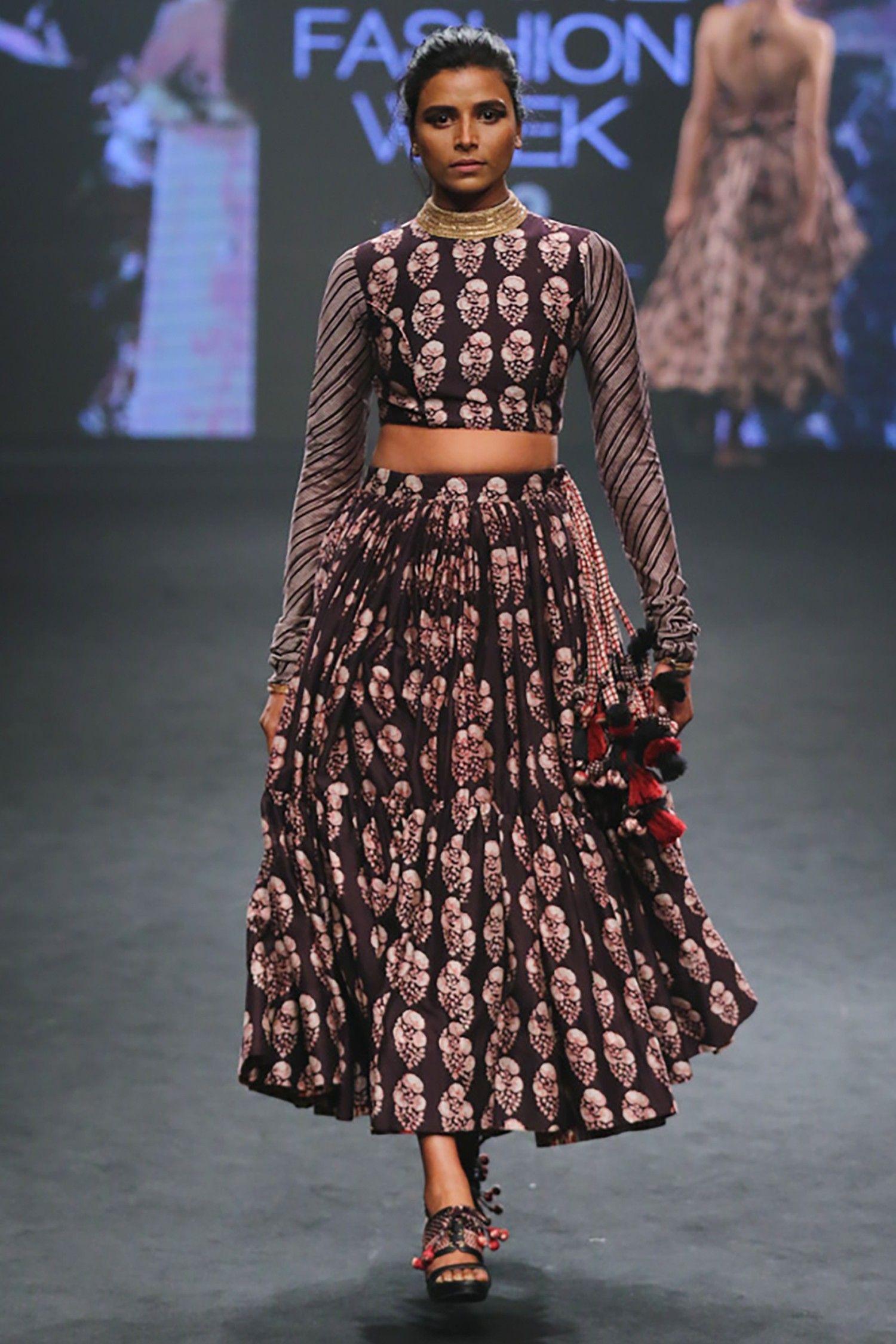 Printed croptop with skirt Punit Balana Designers