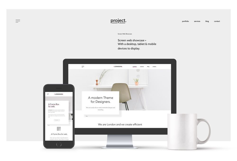 A complete website header with devices mockups for showcasing your ...