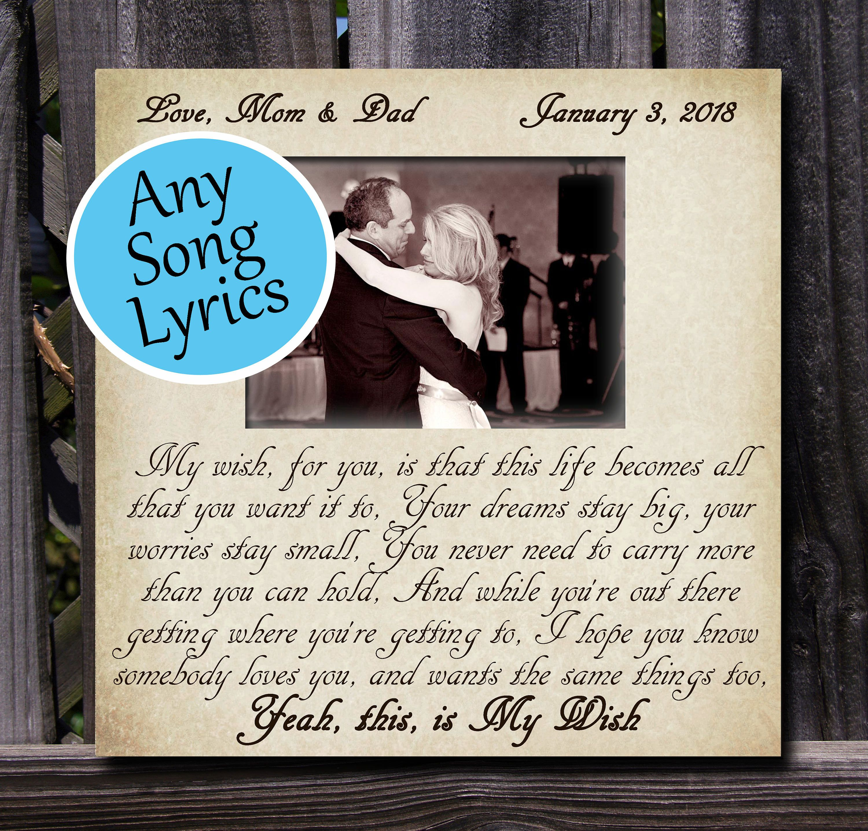 Wedding Gift, Any Song Lyrics, quote, poem, or wording you choose ...