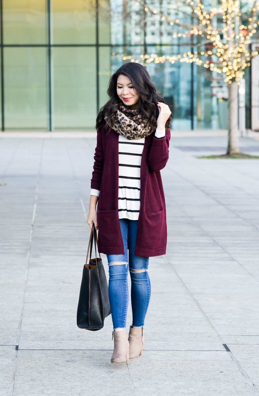 Burgundy Cardigan Outfit + 2017 New Year's Blog ...