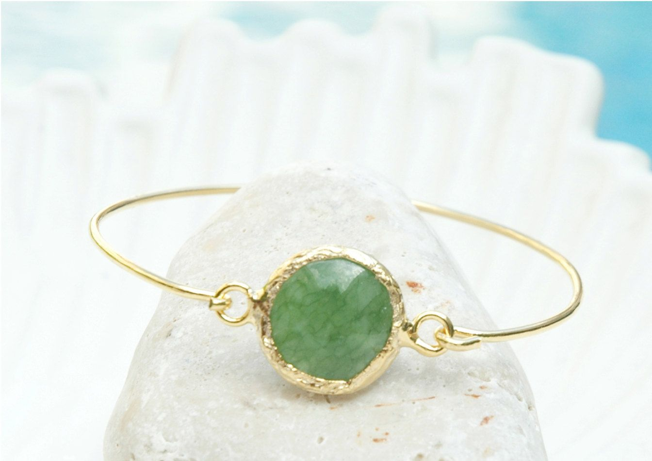 Mystic Jade Bracelet Virginia - Gold and Jade Bracelet, Green Jade Jewelry, Jade Bangle Bracelet, Jade and Gold filled Jewelry by mysticdukkan on Etsy