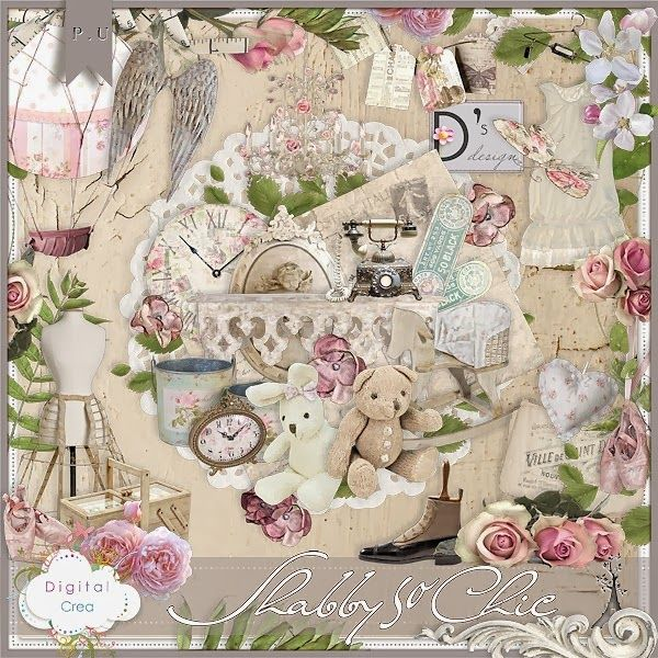Shabby So Chic by Doudou s Design to  Scrap Digital-Crea this beautiful Kit includet:12 Papers and 76 Elements  http://digital-crea.fr/shop/doudou-s-design-c-155_164/shabby-so-chic-p-15662.html