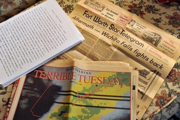 Old newspapers and a personal account detail Carol Wagner's experiences as the mayor pro tem for Wichita Falls when it was hit by a tornado ...