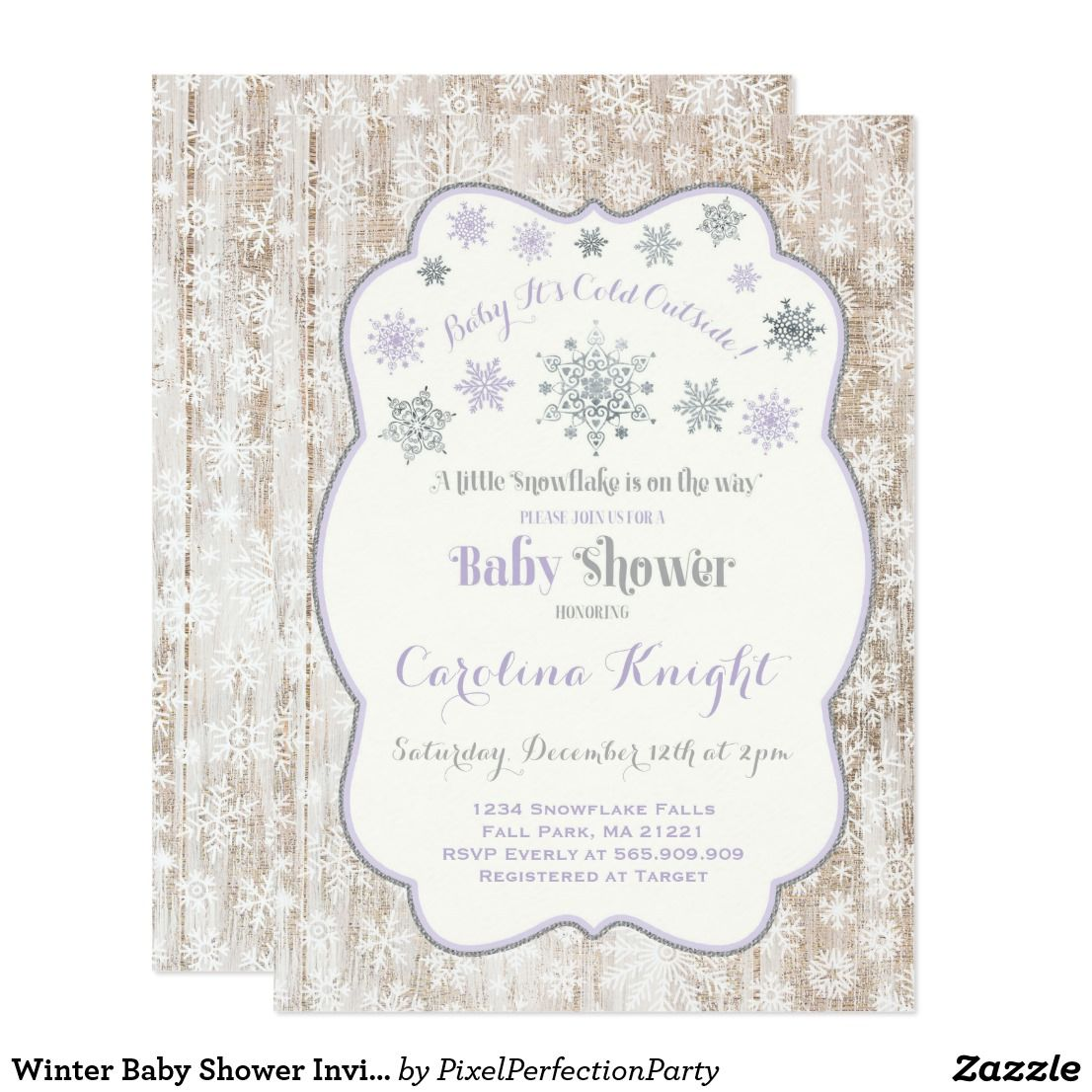 Winter Baby Shower Invitation Rustic Lilac Silver | Winter baby ...
