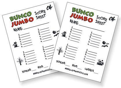 Free Halloween Bunco Score Cards  Games    Halloween