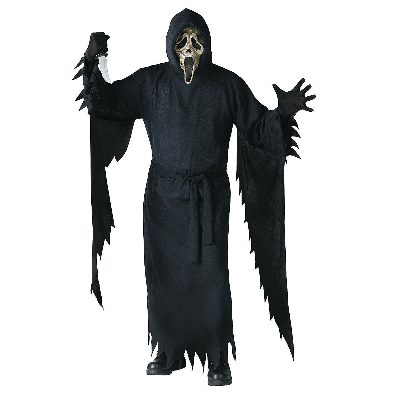 Mens Screaming Spirit Costume Grim Reaper Halloween Fancy Dress Horror Ghost