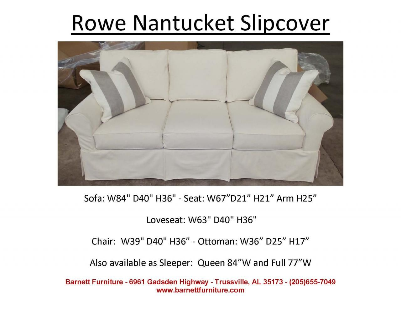Rowe Nantucket Slipcover Sofa You Choose The Fabric