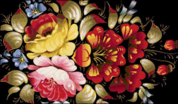Fall Flowers Cross Stitch Pattern, Instant Download PDF