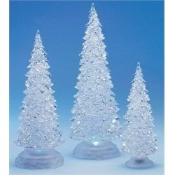 3 Piece Icy Crystal Battery Operated Lighted Led Color Changing Christmas Trees Christmas Tree Set Christmas Tree Night Light Tabletop Christmas Tree
