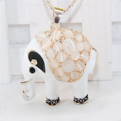 Betsey-Johnson-Cute-crystal-Elephant-pendant-necklace-sweater-chain