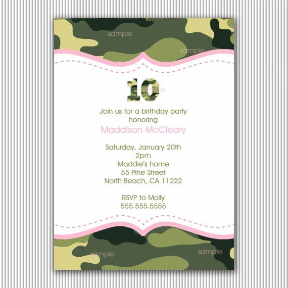 Pink Camouflage Birthday Invites Pink and Green Camo Birthday