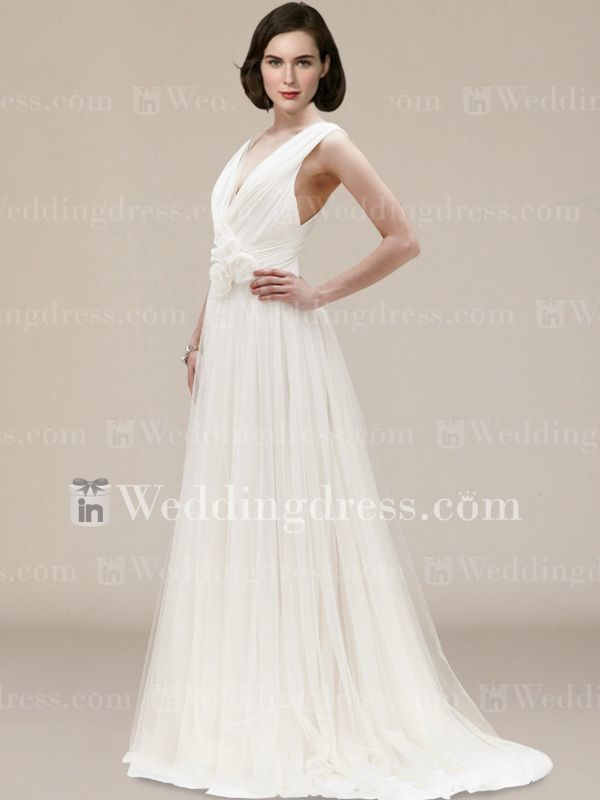 7f4393fc55e4 Plus Size Casual Chiffon V-Neck Wedding Dress with Flowers BC064 ...