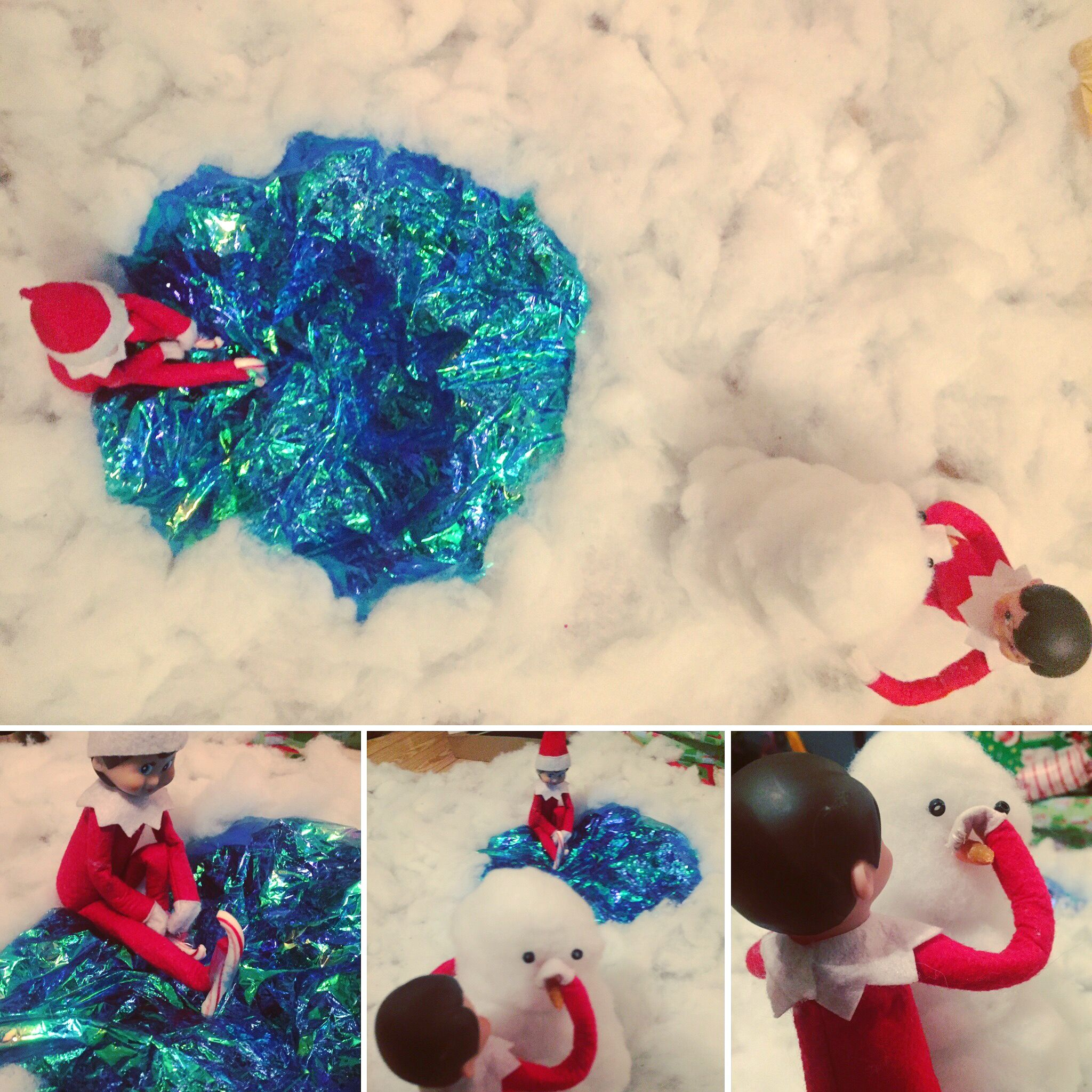 Elf on the shelf couple indulge in outdoor activities Ice skating