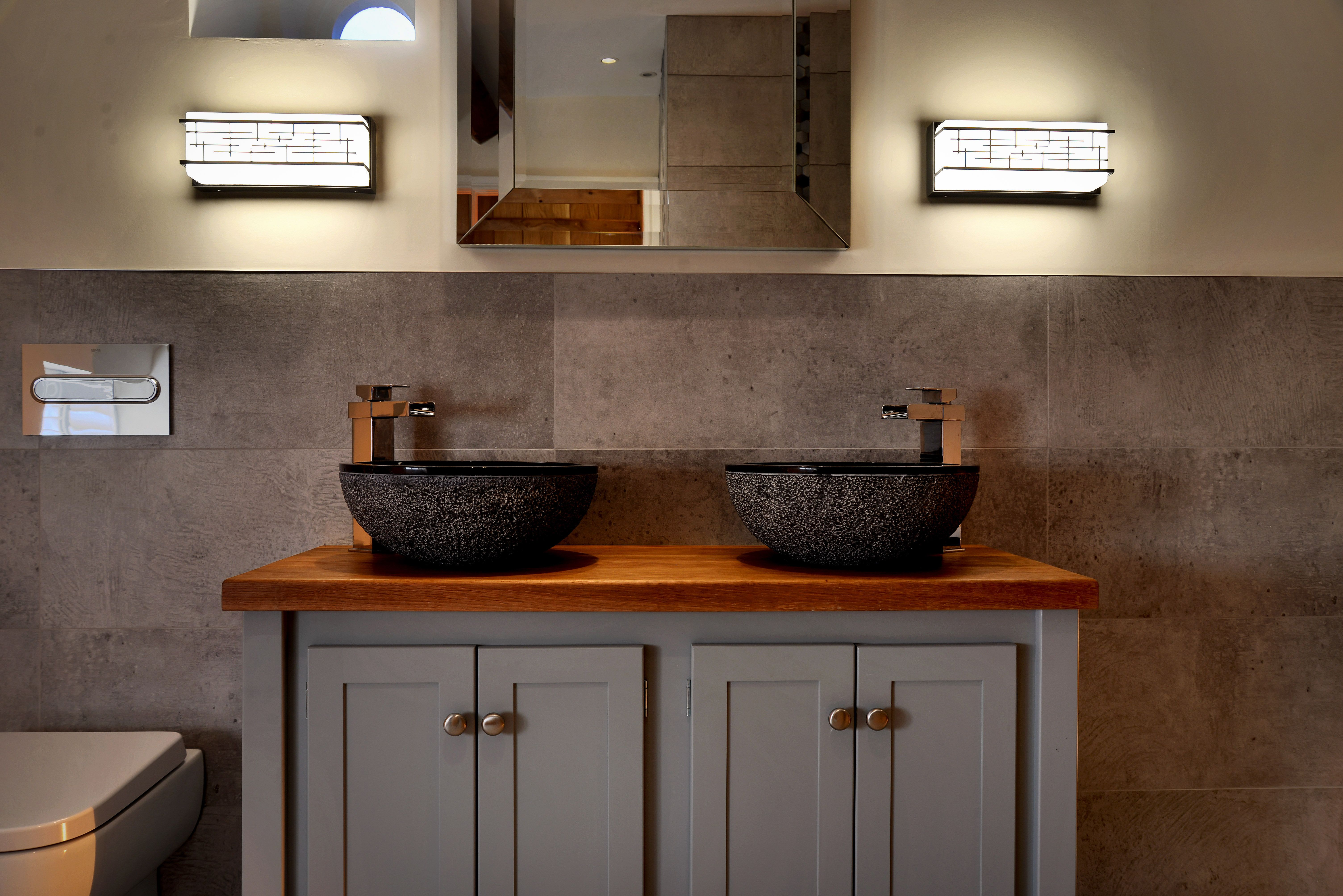 These Art Deco style bathroom rated wall lights can also ...