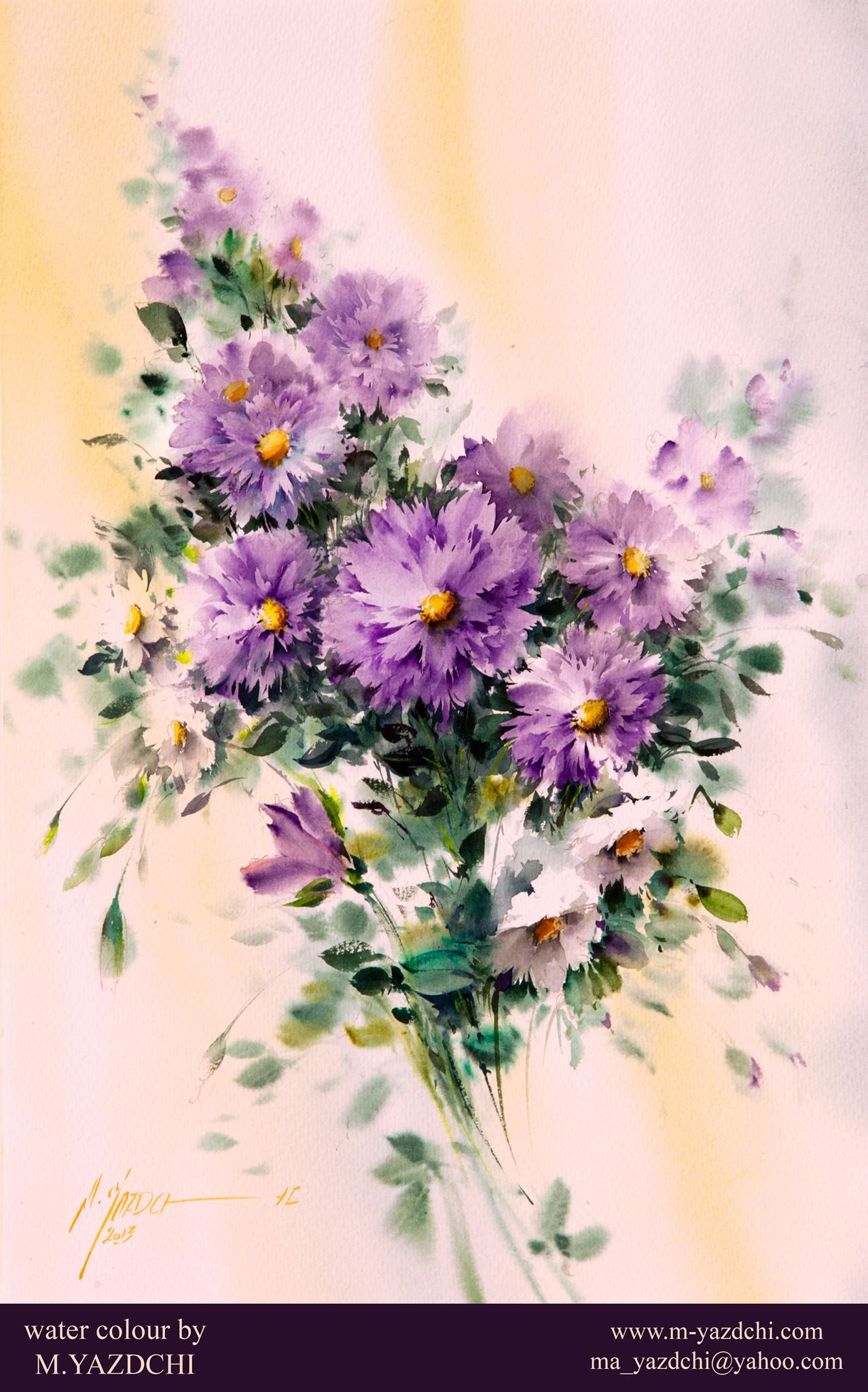 Mohammad Yazdchi Watercolor Flowers Floral Watercolor Flower