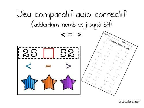 compl ment du jeu comparatif auto correctif pour les nombres de 10 69 maths cycle 2. Black Bedroom Furniture Sets. Home Design Ideas
