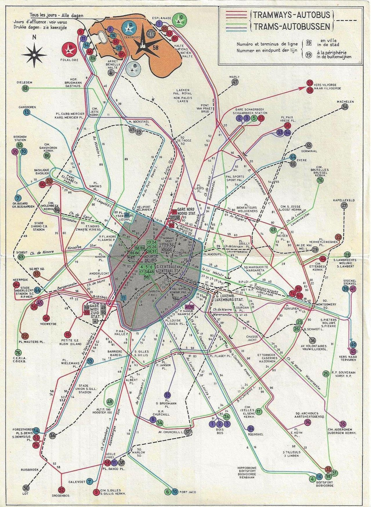 Submission Historical Map Trams and Buses of Brussels Belgium
