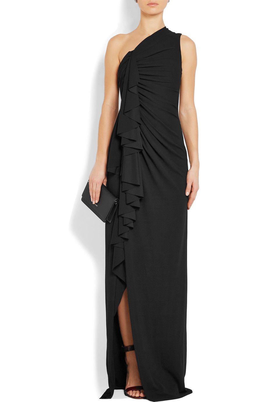 Givenchy   One-shoulder ruffled stretch-crepe gown   NET-A-PORTER.COM