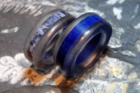 Clear Quartz Crystal with Sodalite and High grade Lapis inlays Rings