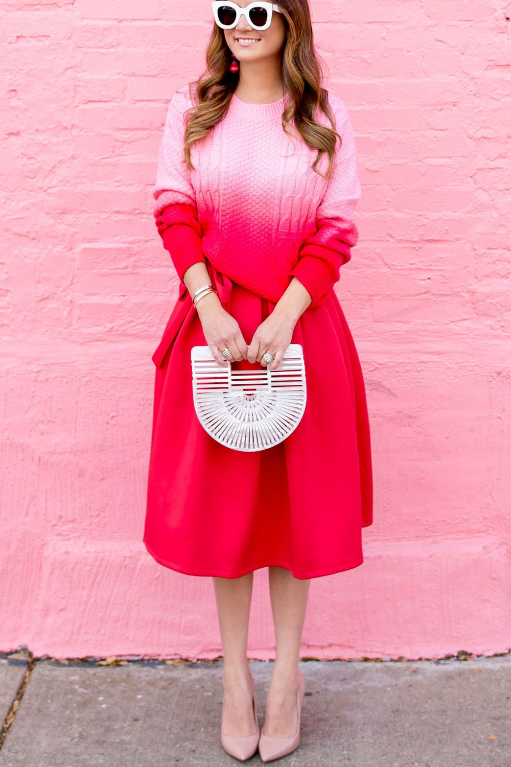 Red pink ombre sweater and red midi skirt ombre sweater ombre and