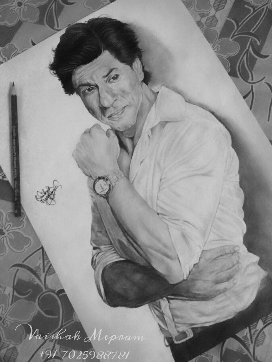 Shahrukh khan pencil drawing srk by vaishak mepram graphite pencils