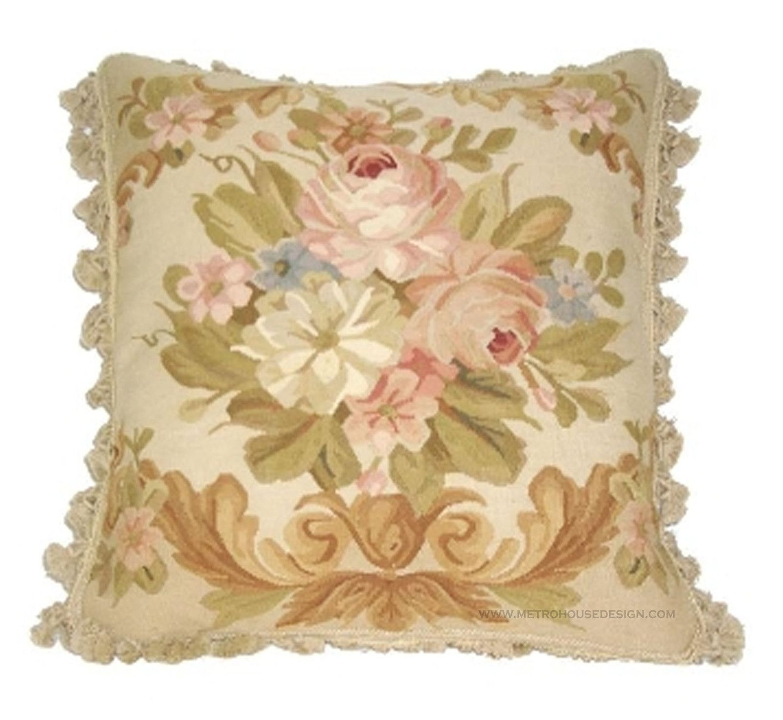 French Country Floral Aubusson Accent Pillow | Designer Accent ...
