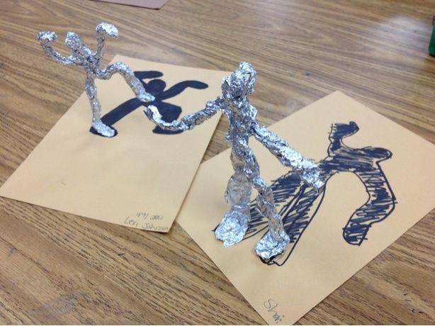 Schaduw poppetjes van aluminiumfolie en metaaldraad maken en schaduw ervan tekenen - Schaduw maken ...
