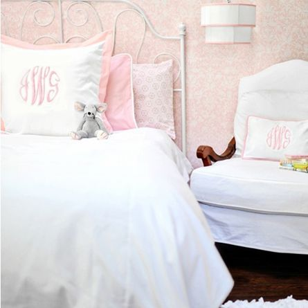 White Pique Kids Bedding Set In Pink Girls Pink Bedding