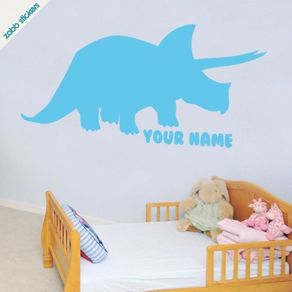 Dinosaur Wall Sticker Triceratops With Personalised Name Zabb - 3d dinosaur wall decalsd dinosaurs wall stickers decals boys room animals wall decals