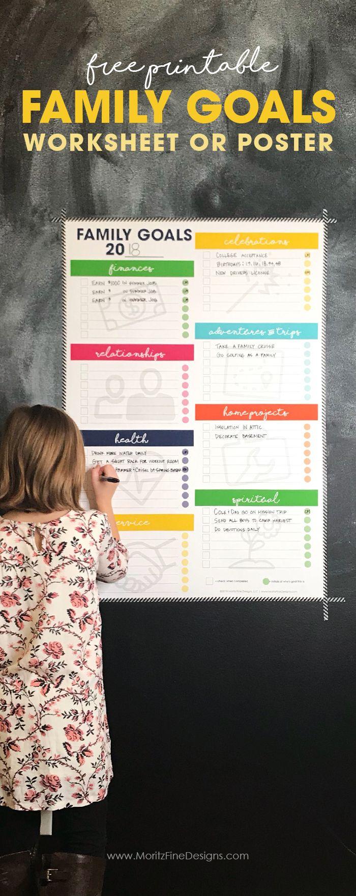 Family Goal Worksheet Free Printable Worksheet Or Poster Goals Worksheet Family Goals Free Goal Printables