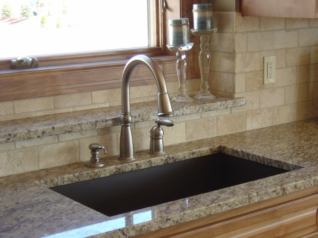 Superior Brown Granite Sink With Giallo Ornamental Granite