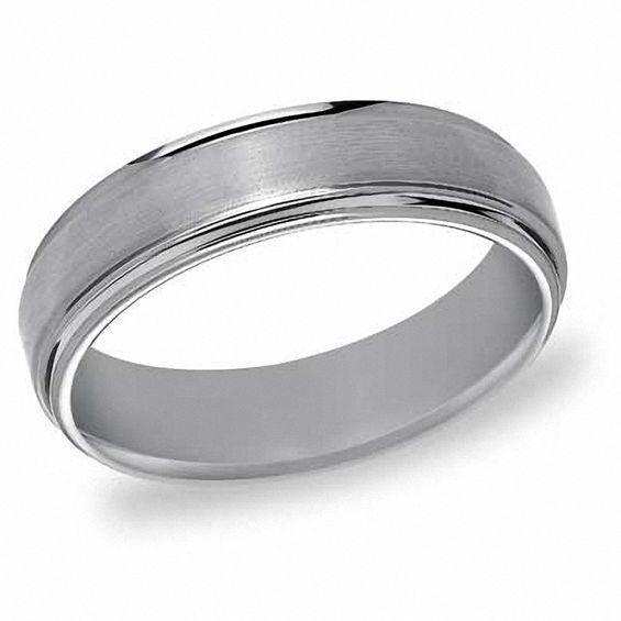 Zales Previously Owned - Mens Triton 6.0mm Comfort Fit Hammered White Tungsten Wedding Band f56FI8r91