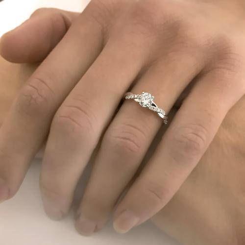 Moissanit Ring 14k 585 Weißgold oder Palladium oder Platin Rund Brillant Diamant Ring Verlobungsringe Damenring