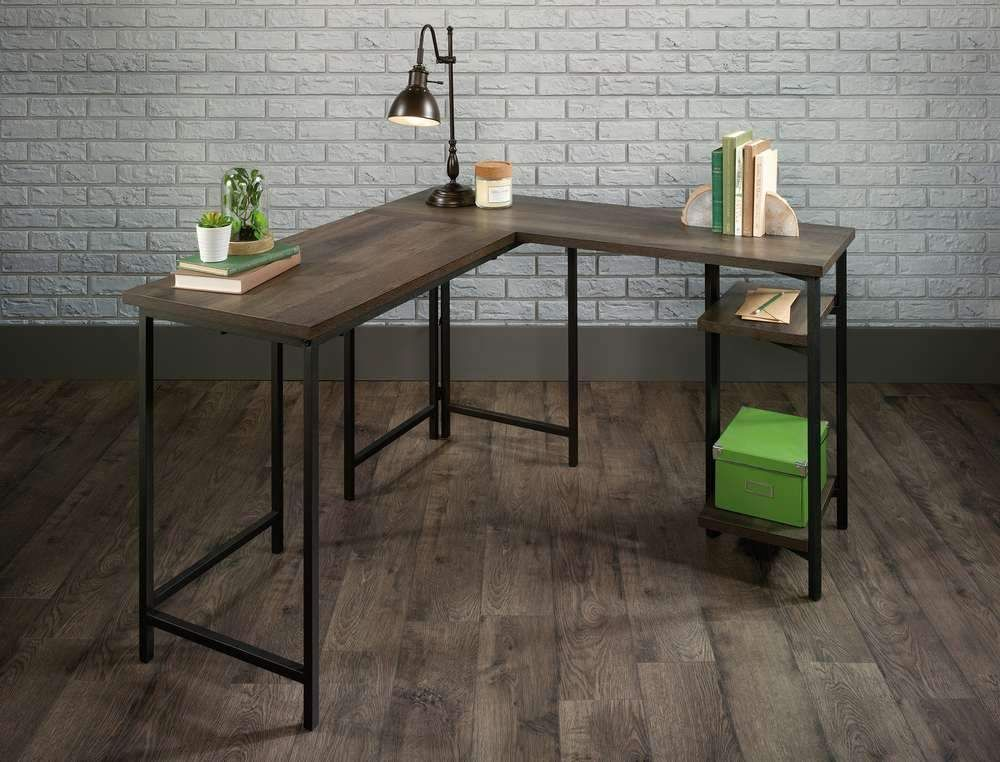 Industrial Style L-Shaped Executive Desk in Smoked Oak finish