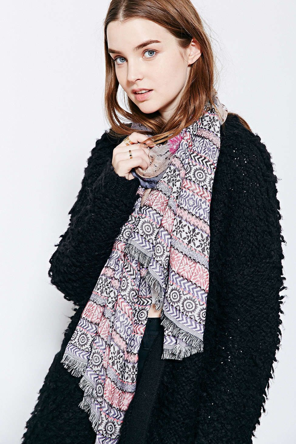Geo Burnout Jacquard Scarf - Urban Outfitters