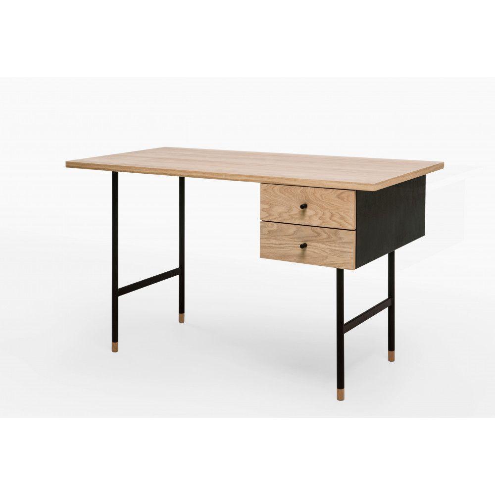 Bureau Design Ch Ne Et M Tal Noir 2 Tiroirs Jugend Bureau Design  # Bureaux En Bois