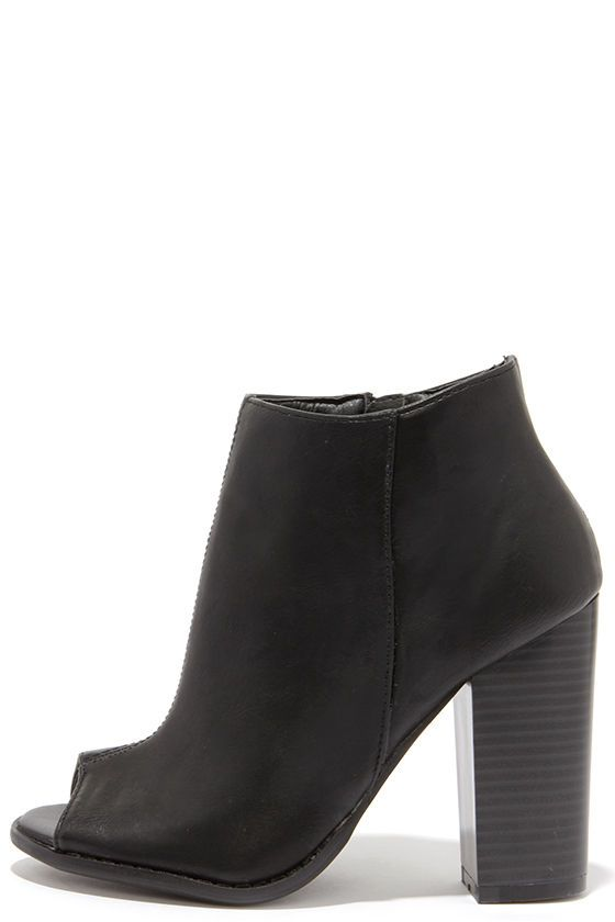 8646bed9dd54 perfect fall shoe    black open-toe bootie with a stacked wood heel